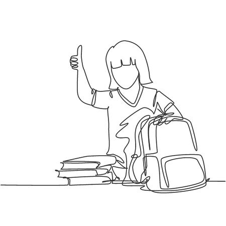 One line drawing of young happy elementary school girl student packing stack of books up to put into the bag. Education concept continuous line draw graphic design vector illustration
