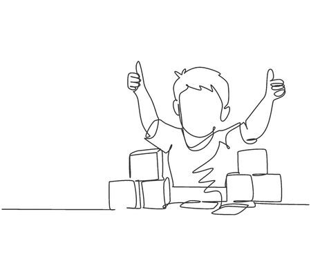Single line drawing of young happy boy playing stack of puzzle block on table and giving thumbs up gesture in kindergarten class. Business deal continuous line draw design graphic vector illustration
