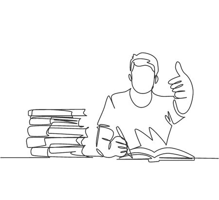 One line drawing of young happy male college student studying and reading stack of books in library while gives thumbs up gesture. Education continuous line draw graphic design vector illustration