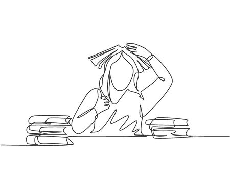 One line drawing of young bored female student read stack of books in library and put the book on her head and gives thumb up gesture. Education concept continuous line draw design vector illustration Illustration