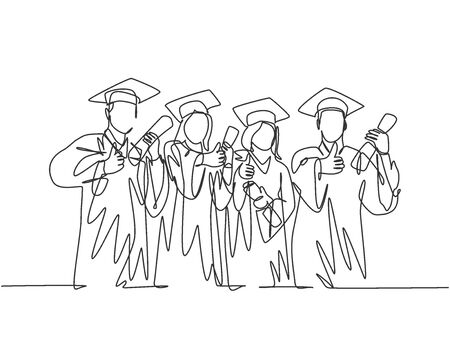 One line drawing group of graduate male and female college student wearing gown uniform and hold diploma certificate paper. Education concept continuous line draw design graphic vector illustration Foto de archivo - 150291524
