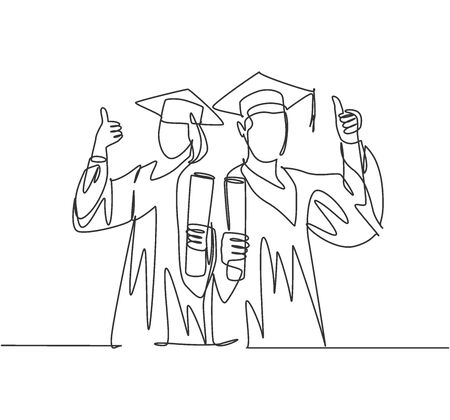 One line drawing of young happy couple male and female student wearing graduation uniform and holding the diploma certificate paper. Education concept continuous line draw design vector illustration
