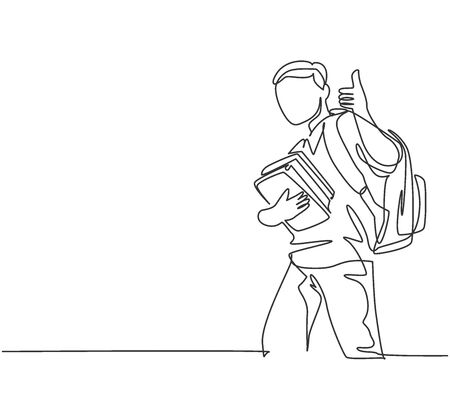 One line drawing of young happy elementary school boy student carrying stack of books and giving thumbs up gesture. Education concept continuous line draw design vector illustration