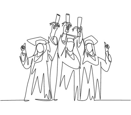One line drawing group of young happy graduate male and female college student wearing gown and lifting diploma certificate paper up into the air. Education concept continuous line draw design vector Illustration