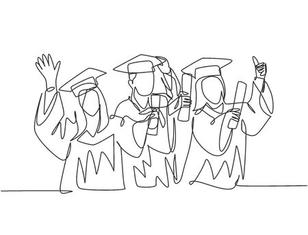 One line drawing group of young happy graduate male and female college student wearing gown and holding diploma certificate paper. Education concept continuous line draw design vector illustration Foto de archivo - 150291499