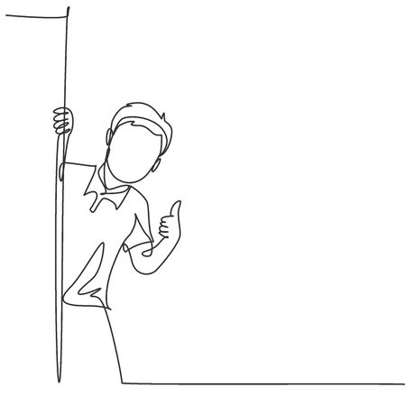 One line drawing of young happy student boy school student appeared from behind the wall and giving thumbs up gesture. Education concept continuous line draw design vector graphic illustration