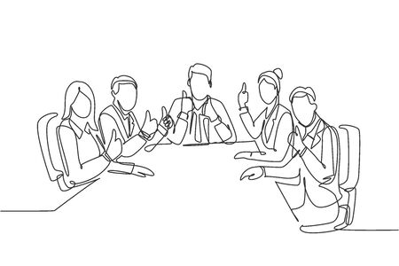 Single line drawing group of young happy businessmen and businesswomen siting on same desk together giving thumbs up gesture. Business meeting concept. Continuous line draw design vector illustration