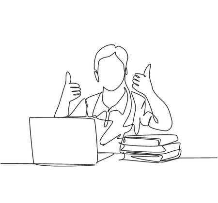 Single line drawing of young happy male college student study in the campus library beside stack of books and laptop. Education concept. Continuous line draw design vector illustration Illustration