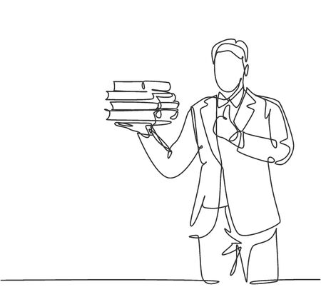 Single line drawing of young business man carrying stack of books on his hand and giving thumbs up gesture. Business education concept. Continuous line draw design vector graphic illustration Illustration