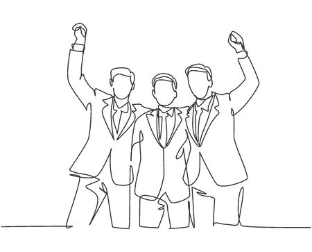 One line drawing of three young happy businessmen celebrating their successive target at the business meeting with high five gesture. Business deal concept continuous line draw design illustration Ilustração