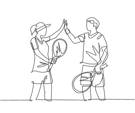 One line drawing of young fun couple male and female playing tennis at grass court together and giving high five gesture. Relationship concept continuous line draw graphic design vector illustration