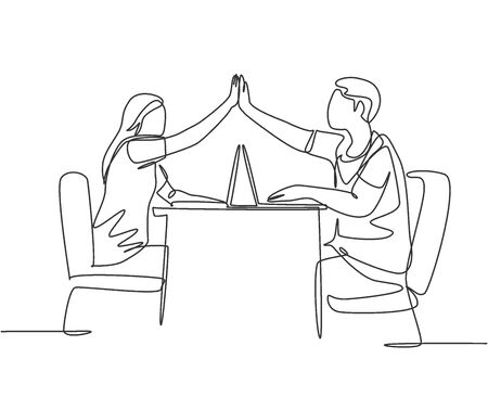 One line drawing of two young happy couple man and woman work at cafe and giving high five gesture to celebrate successful. Business deal concept continuous line draw design vector illustration