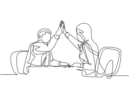 One line drawing of young happy businessman and businesswomen celebrating their successive goal at the business meeting. Business deal concept continuous line draw design vector illustration