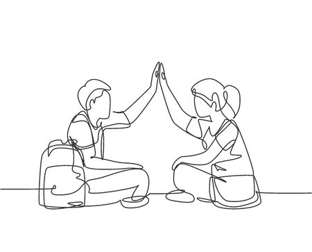 One line drawing of young happy couple male and female sitting on the floor and giving high five gesture. Relationship concept continuous line draw design graphic vector illustration Ilustração