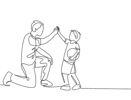One line drawing of young happy father bow his body to give high five gesture to his boy and giving high five gesture. Parenting family care concept. Continuous line draw design vector illustration Ilustração