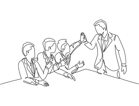 One line drawing group of businessmen celebrating their successive goal at the business meeting with high five gesture. Business deal concept continuous line graphic draw design vector illustration
