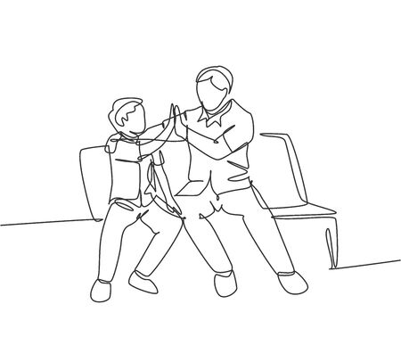 Single line drawing of young happy father sitting relax on wood bench next to his kid and giving high fives gesture. Parenting family concept. Continuous line draw design graphic vector illustration 向量圖像