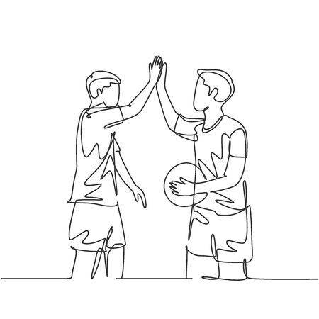 One line drawing of two young happy man playing basket ball on outfield court and giving high five gesture. Healthy sport lifestyle concept. continuous line draw design graphic illustration Ilustração