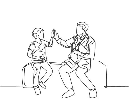 Single line drawing of young happy male doctor checking up sick patient boy and give high five gesture. Medical healthcare service treatment concept. Continuous line draw design vector illustration Ilustração