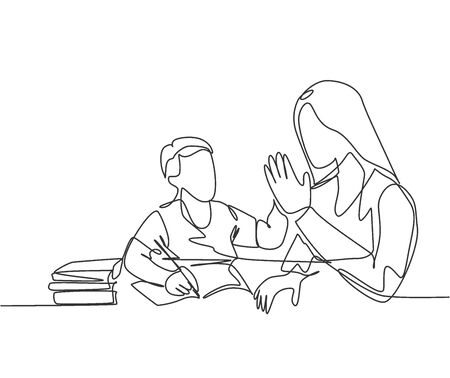 One single line drawing of young happy mother accompany her kid studying and reading a book while give high five gesture. Parenting family care concept. Continuous line draw design vector illustration