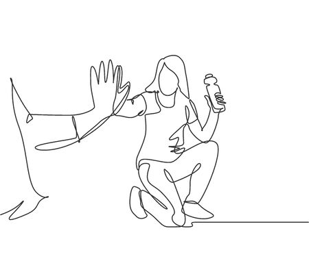 Single line drawing of young happy woman take a rest after do some exercise and giving high five to her friend at outfield park. Friendship concept continuous line draw design vector illustration