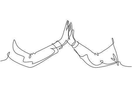 One line drawing of two men giving high fives gesture hands wearing office clothes to celebrate success. Business teamwork concept. Trendy continuous line draw graphic design illustration