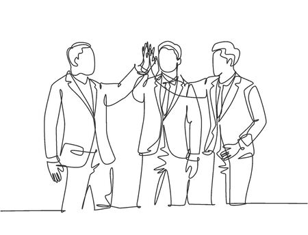 Single line drawing of young happy businessmen celebrate their successive business and giving high fives gesture. Business deal concept continuous line draw graphic design vector illustration