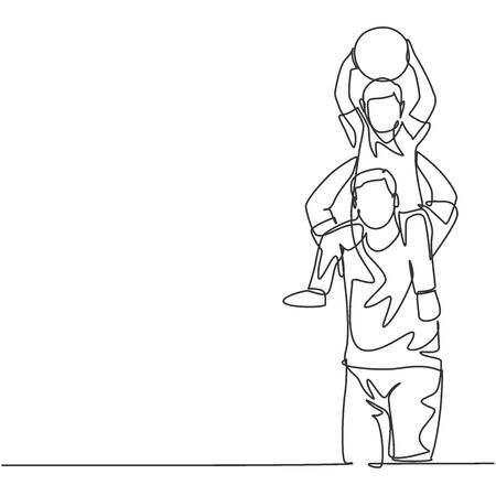 One line drawing of young happy father lift up his son while holding a ball on the shoulder and playing together. Parenting family concept. Continuous line draw design graphic vector illustration