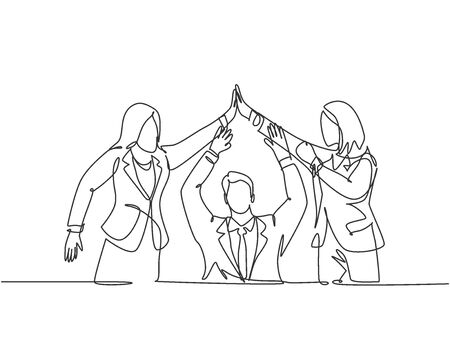 One line drawing group of two young assistant manager celebrating their successive goal with high five gesture. Business deal concept continuous line draw design vector graphic illustration Ilustração