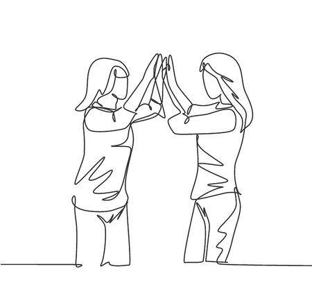 Single line drawing of two best friends girls reunite and giving high five gesture when meeting at the street. Friendship concept continuous line draw design graphic vector illustration