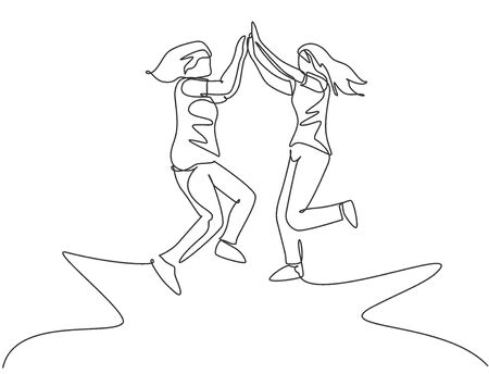 Single line drawing of two young happy women jumping and giving high five gesture to celebrate business successful. Friendship concept continuous line draw design graphic vector illustration