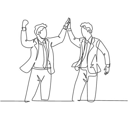 One line drawing of two young happy businessmen celebrating their successive goal with high five gesture together. Business deal concept continuous line draw design graphic vector illustration