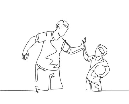 Single line drawing of young happy father and son playing football together on outdoor field and give high five gesture. Parenting concept continuous line draw design vector graphic illustration