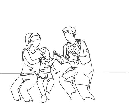 Single line drawing of young happy male doctor checking up sick patient boy and giving high five gesture. Medical healthcare at hospital concept continuous line draw graphic design vector illustration
