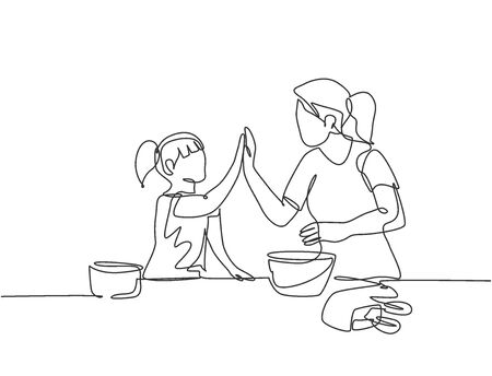 Single line drawing of mother and daughter preparing to cook some cookies at the kitchen and giving high five gesture. Parenting concept continuous line draw design vector graphic illustration