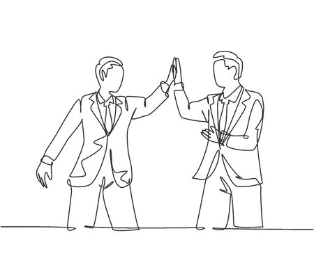 One line drawing of two young happy businessmen celebrating their successive goal at the business meeting with high five gesture. Business deal concept continuous line draw design vector illustration