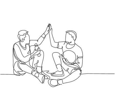 One line drawing of two young happy men take a rest after playing basketball at court and giving high five gesture. Sport game concept continuous line draw graphic design vector illustration
