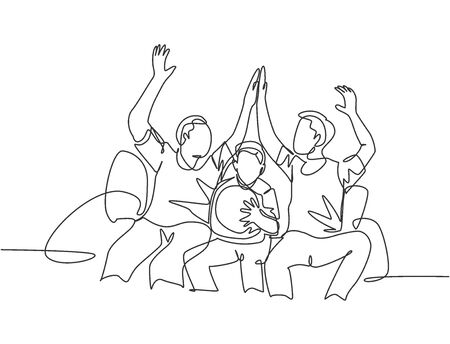 One line drawing of fans siting on sofa and watching their favorite club playing the match on television and giving high five gesture. Fans club concept continuous line draw design vector illustration