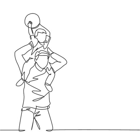 One line drawing of young happy father lift up his son on the shoulder and playing ball together at outdoor park. Parenting family concept. Continuous line graphic draw design vector illustration Stock Illustratie
