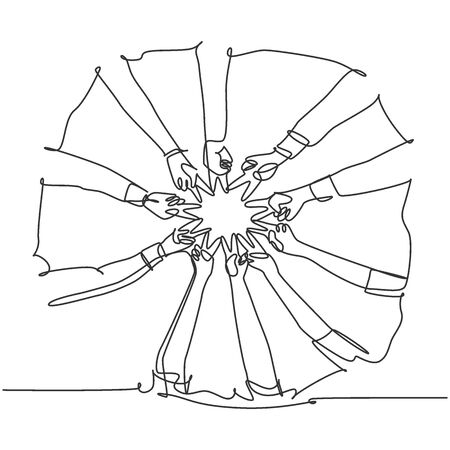 One line drawing of young happy people join their hands together to show teamwork and unity and create circle shape. Team building concept continuous line draw design graphic vector illustration Ilustração