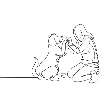 One line drawing of young happy woman squat then giving high five gesture to his dog at outfield park as friendship symbol. Pet care concept. Modern continuous line draw design vector illustration