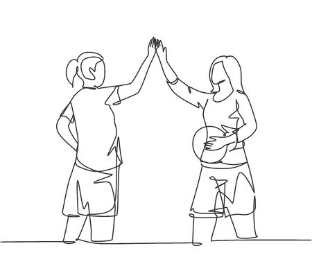 One line drawing of young happy women giving high five gesture before playing basket ball at outfield court. Sport game concept continuous line draw graphic design vector illustration