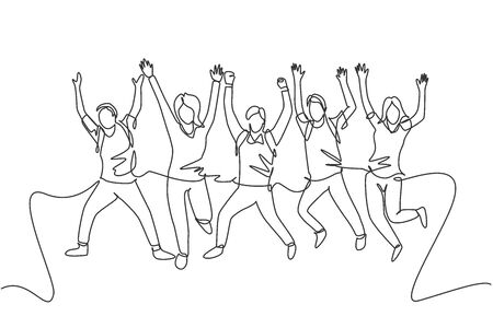 One line drawing group of young happy male and female college student jumping to celebrate their final exam result. Education celebration concept. Continuous line draw design vector illustration