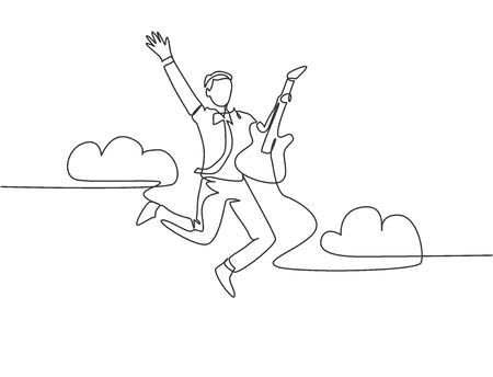 Single line drawing of young energetic guitarist jumping at stage and playing his electric guitar. Energetic musician artist performance concept. Continuous line draw design vector illustration Vetores