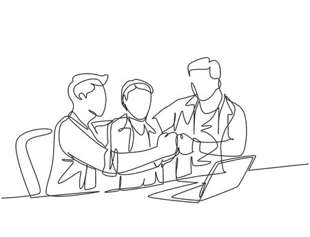 One continuous line drawing of multi level marketing or MLM upliner doing presentation with laptop to prospect downliner candidate. MLM business concept single line draw design vector illustration 向量圖像