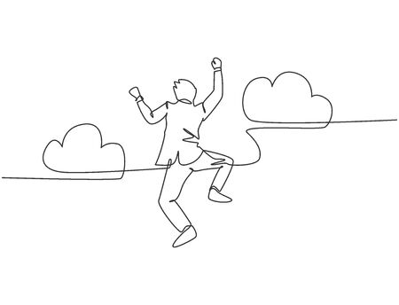 One line drawing of young happy and energetic business man punching a fist into the air and jumping over the cloud. Business success celebration concept continuous line draw design vector illustration