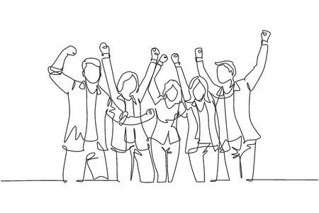 One single line drawing of group of young happy ceo and his colleagues celebrating their success achieving the company business target. Team work goal concept continuous line draw design illustration