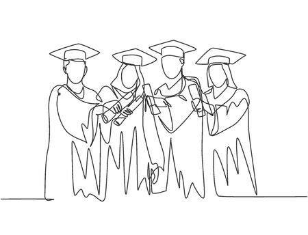 One single line drawing of group of male and female college student show their graduation letter to celebrate their graduate from school. Education concept continuous line draw design illustration