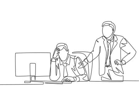 One continuous line drawing of young angry manager asking his depressed staff for an unfinished job. Work pressure at he office concept. Trendy single line draw design vector graphic illustration