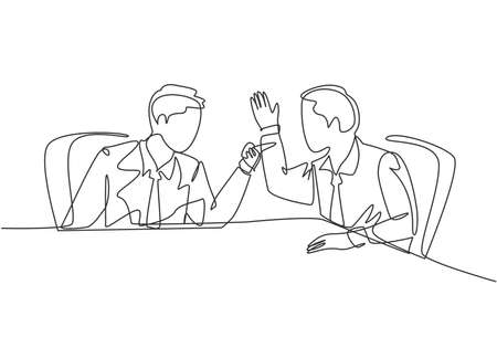 One single line drawing of young angry businessman pointing finger to his shouting colleague then they blaming each others. Business problem concept continuous line draw design vector illustration Vektoros illusztráció